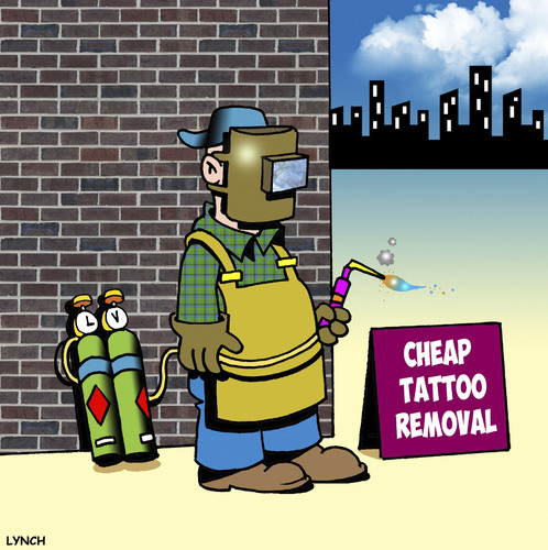 Cartoon: Cheap tattoo removal (medium) by toons tagged tattoos,body,art,piercing,welding,tattoo,removal