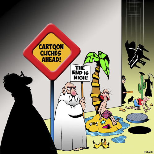 Cartoon: Cliches (medium) by toons tagged caution,signposts,cliches,characters,cartoon,piano,falling,island,desert,signs,cartoon,characters,cliches,signposts,caution,signs,desert,island,falling,piano