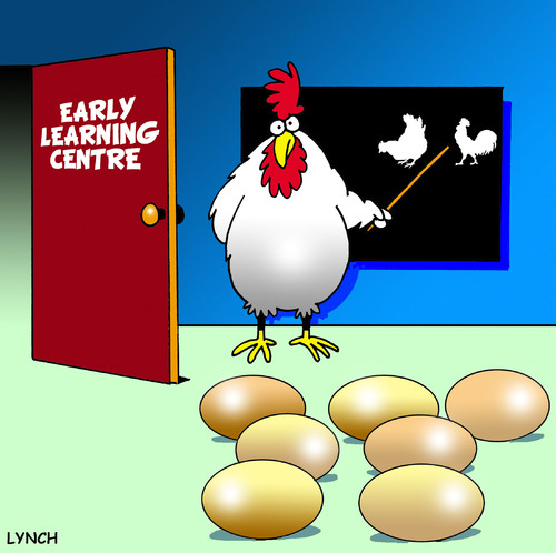 Cartoon: early learning (medium) by toons tagged kindrgarten,pre,school,early,learning,chickens,eggs