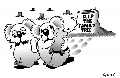 Cartoon: family tree (medium) by toons tagged logging,bears,animals,koalas,environment,ecology,greenhouse,gases,pollution,earth,day,