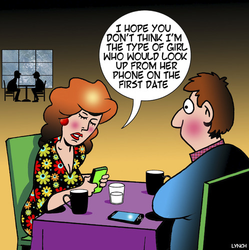 Image result for dont use phone on date cartoon