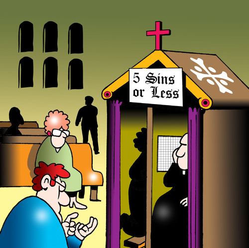 Cartoon: five sins or less (medium) by toons tagged religion,confession,sinning,sins,deadly,priest,minister,church,catholics,commandments,pennance