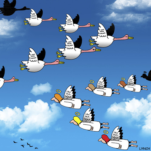 flying by By toons | Religion Cartoon | TOONPOOL