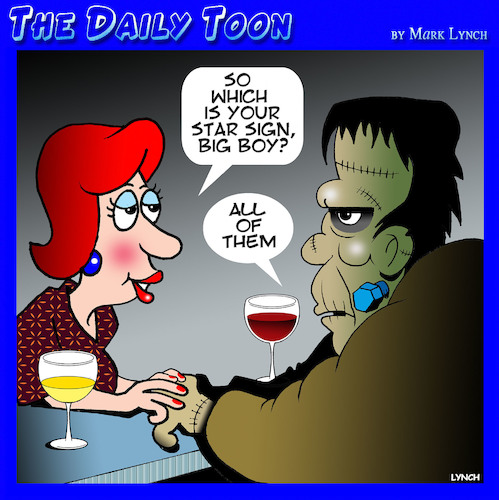 Cartoon: Frankenstein (medium) by toons tagged star,sign,frankenstein,astrology,star,sign,frankenstein,astrology