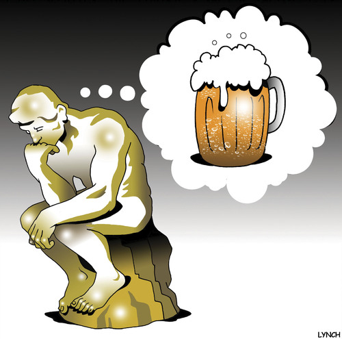 Cartoon: Good thinking (medium) by toons tagged the,thinker,beer,happy,thoughts,statue,sculpture,rodin,drinking