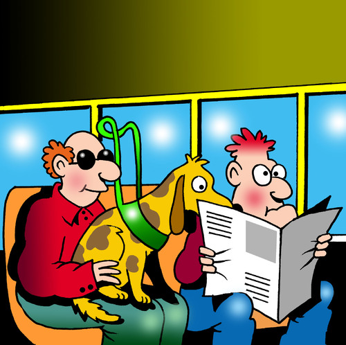 Cartoon: guide dog reader (medium) by toons tagged guide,dogs,blind,sight,impaired,newspapers,public,transport,reading,over,shoulder,trains,subway,tube,sunglasses