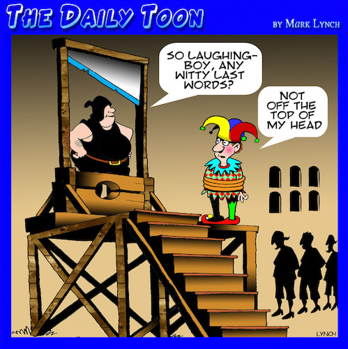 Cartoon: Guillotine (medium) by toons tagged court,jester,beheaded,guillotine,witty,comments,last,words,court,jester,beheaded,guillotine,witty,comments,last,words