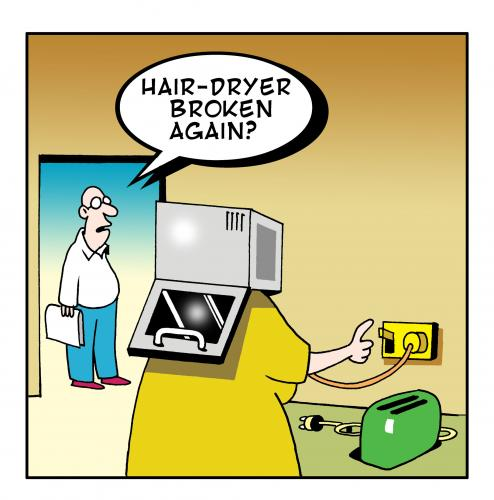 Cartoon: hair dryer (medium) by toons tagged kitchens,appliances,hairdryer,suicide