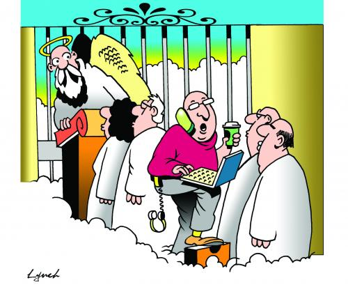 Cartoon: Heaven can wait (medium) by toons tagged heaven,devil,angels,afterlife,computers,phones,gen,