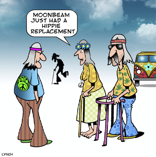 Cartoon: Hippie replacement (medium) by toons tagged hippies,hip,replacement,elective,surgery,the,sixties,walking,frame,old,age,pensioners