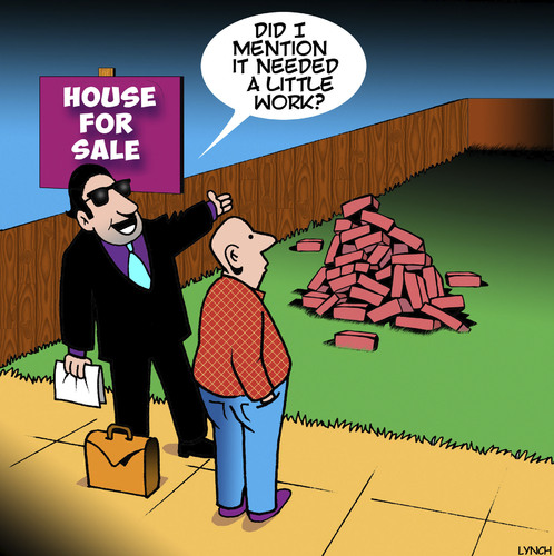 Cartoon: House for sale (medium) by toons tagged real,estat,house,for,sale,needs,work,realtor,estate,agent,housing,real,estat,house,for,sale,needs,work,realtor,estate,agent,housing