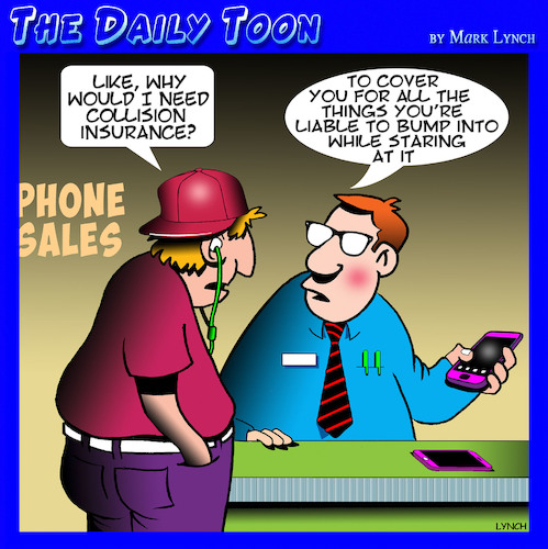 Cartoon: Insurance cartoon (medium) by toons tagged phone,sales,staring,at,your,iphones,collision,insurance,on,selling,industry,phone,sales,staring,at,your,iphones,collision,insurance,on,selling,industry