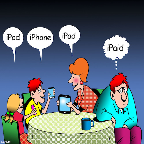 Cartoon: iPhone (medium) by toons tagged iphones,ipads,ipods,expensive,technology,apple,computers,hand,helds,wifi,money,iphones,ipads,ipods,expensive,technology,apple,computers,hand,helds,wifi,money
