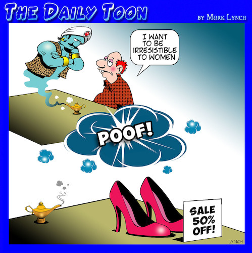 Cartoon: Irresistible (medium) by toons tagged romeo,new,shoes,genie,and,the,lamp,wishing,lothario,wishful,thinking,ladies,sale,items,shoe,romeo,new,shoes,genie,and,the,lamp,wishing,lothario,wishful,thinking,ladies,sale,items,shoe