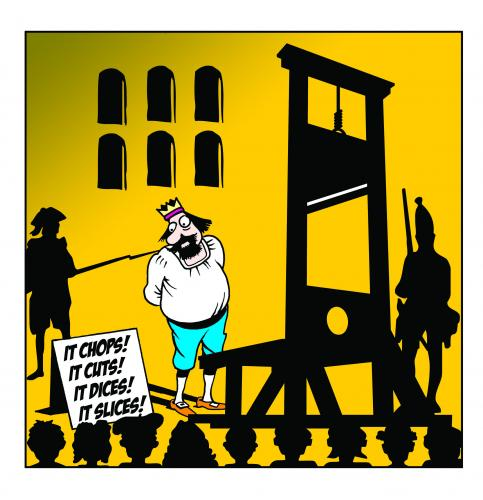 Cartoon: it chops (medium) by toons tagged guillotine,french,revolution,beheaded,rotalty,peasants,medievil,kitchen,utensils