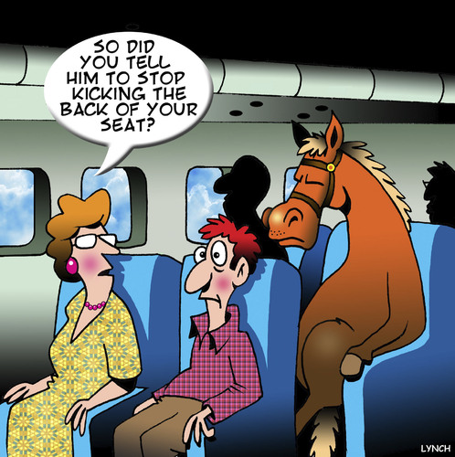 Cartoon: Kicking the back of my seat (medium) by toons tagged airline,travel,horses,economy,class,cattle,animals,passengers,horse,on,plane,airline,travel,horses,economy,class,cattle,animals,passengers,horse,on,plane