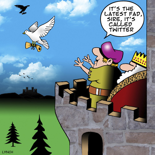 Cartoon: Latest fad (medium) by toons tagged twitter,social,media,homing,pigeons,latest,fads,royalty