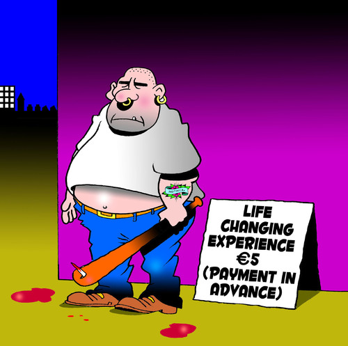 Cartoon: Life changing experience (medium) by toons tagged life,change,career,cosmetic,surgery,thug,sales,euro,miracle,baseball,bat,mid,crisis,cash,in,advance