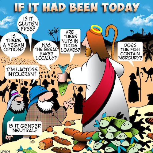 Cartoon: Loaves and fishes (medium) by toons tagged kosher,gluten,free,allergies,sermon,feeding,the,masses,lactose,fish,mercury,vegan,bible,stories,kosher,gluten,free,allergies,sermon,feeding,the,masses,lactose,fish,mercury,vegan,bible,stories