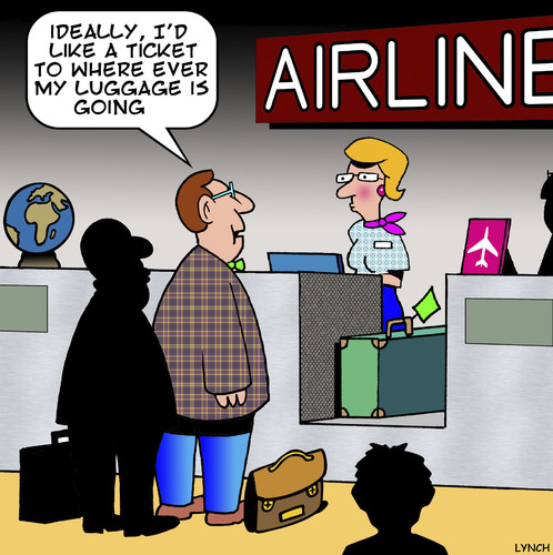 Cartoon: Lost luggage (medium) by toons tagged airlines,luggage,air,travel,lost,and,found,airlines,luggage,air,travel,lost,and,found