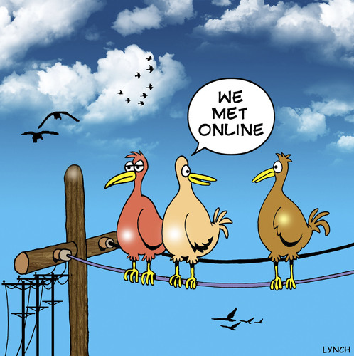 Cartoon: met online (medium) by toons tagged online,birds,poles ...