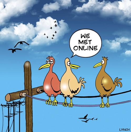 Cartoon: met online (medium) by toons tagged online,birds,poles ...