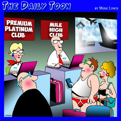 Cartoon: Mile high club (medium) by toons tagged airline,travel,mile,high,club,check,in,desk,airline,travel,mile,high,club,check,in,desk,sex