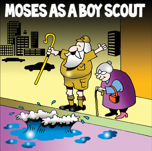 Cartoon: Moses as a boy scout (medium) by toons tagged moses,boy,scouts,good,deeds,god,red,sea,staff,older,people,traffic,city,buildings