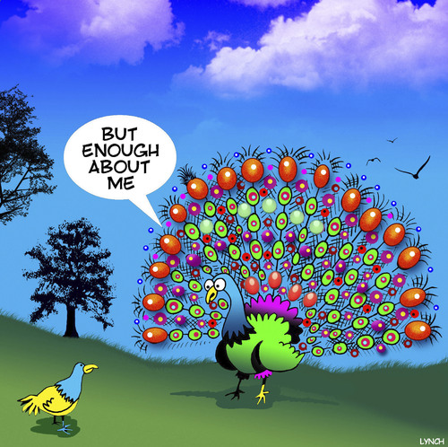 Cartoon: Narcissism Peacock (medium) by toons tagged peacocks,narcissism,birds,show,off,peacocks,narcissism,birds,show,off