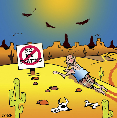 Cartoon: no ice skating (medium) by toons tagged ice,skating,desert,island,vultures,lost,signs,abandoned,cactus