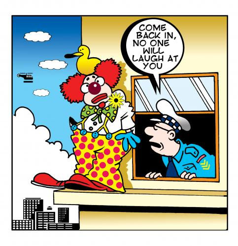 Cartoon: no one will laugh (medium) by toons tagged clowns,circus,police,slapstick,suicide,negotiater