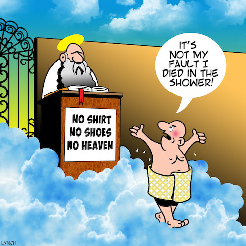 Cartoon: No shoes no entry (medium) by toons tagged pearly,gates,saint,peter,death,afterlife,no,entry,into,heaven,turned,away,died,in,the,shower,pearly,gates,saint,peter,death,afterlife,no,entry,into,heaven,turned,away,died,in,the,shower