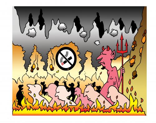 Cartoon: no smoking (medium) by toons tagged hell,smoking,afterlife,no,sinner,devil,