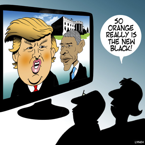 Cartoon: Orange is the new black (medium) by toons tagged trump,wins,obama,the,white,house,donald,us,elections,orange,is,new,black,trump,wins,obama,the,white,house,donald,us,elections,orange,is,new,black