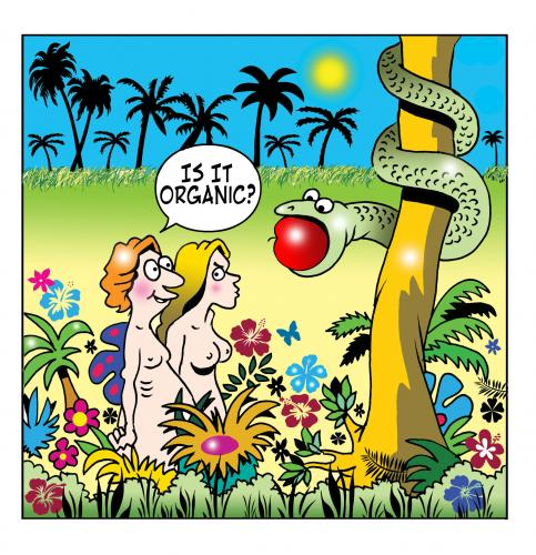 Cartoon: organic (medium) by toons tagged organic,foods,genetically,modified,food,gm,adam,and,eve,garden,of,eden,apples,serpent,snake,bible