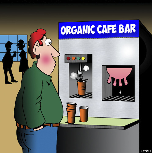 Cartoon: Organic coffee (medium) by toons tagged cows,udder,organic,foods,coffee,machine,cafe,kaffe,cows,udder,organic,foods,coffee,machine,cafe,kaffe