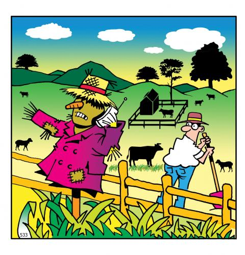 Cartoon: phone your scarecrow (medium) by toons tagged phones,farming,scarecrow