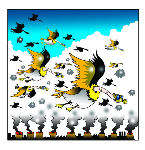 Cartoon: polluted geese (medium) by toons tagged environment,global,warming,geese,birds,chimney,stacks,greenhouse,effect,pollution,gas,mask,emmissions,trading