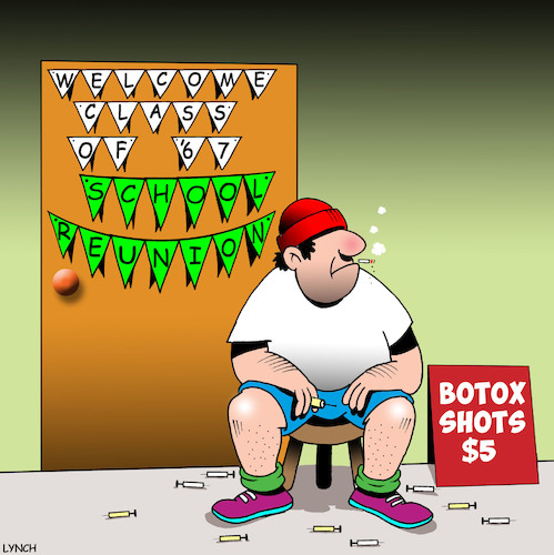 Cartoon: School reunion (medium) by toons tagged botox,school,reunion,anniversary,injections,banner,signs,plastic,surgery,botox,school,reunion,anniversary,injections,banner,signs,plastic,surgery