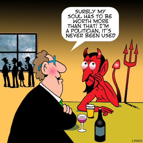 sell your soul to the devil By toons | Politics Cartoon | TOONPOOL