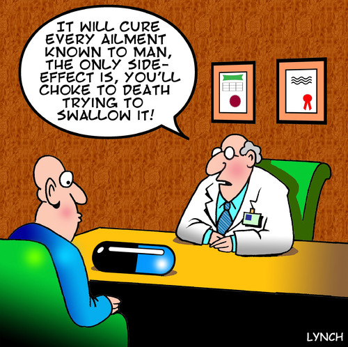 Cartoon: side effects (medium) by toons tagged medication,doctors,pills,valium,surgery,chemist,cure,side,effects,cancer,patient,prescription