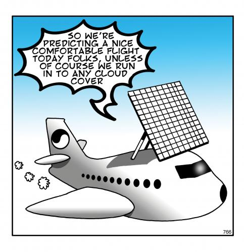 Cartoon: solar plane (medium) by toons tagged solar,renewable,aircraft,flying,airlines