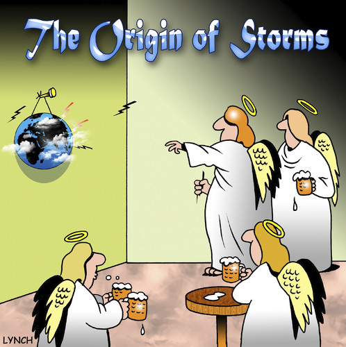 Cartoon: storms (medium) by toons tagged storms,weather,rain,angels,heaven,earth,lightning,meteorology