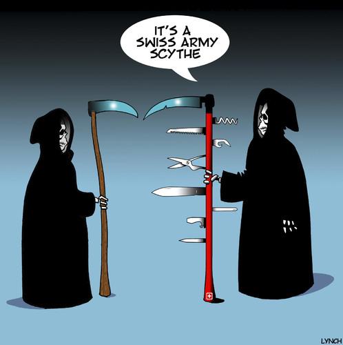 Swiss Army Scythe By Toons Philosophy Cartoon Toonpool