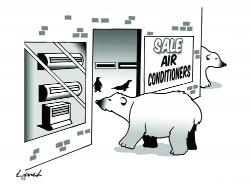 Cartoon: The big air con (medium) by toons tagged polar,bears,arctic,environment,ecology,greenhouse,gases,pollution,earth,day,