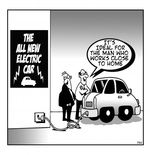 Cartoon: the electric car (medium) by toons tagged hybrid,automobiles,electric,car,environment