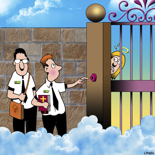 Cartoon: The Mormons are knocking (medium) by toons tagged mormons,jehovahs,witness,door,knocking,we,would,like,to,talk,about,jesus,mormons,jehovahs,witness,door,knocking,we,would,like,to,talk,about,jesus
