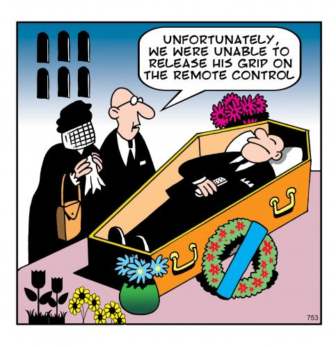 Cartoon: The remote (medium) by toons tagged remote,control,tv,video,death,funerals