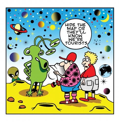 By toons tagged space tourism tourists holidays travel universe aliens