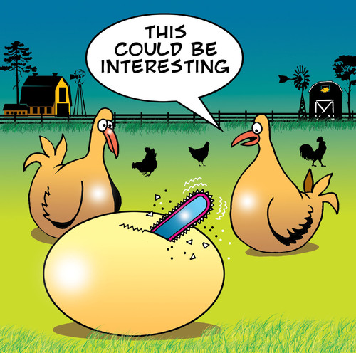 Cartoon: This could be interesting (medium) by toons tagged eggs,chickens,farms,hens,tools,hatching,chainsaw,farmer,farm,animals,birth,motherhood